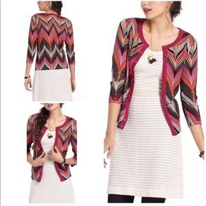 EUC Tabitha Seared Chevrons Zig Zag Cardigan M